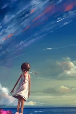 bambina che scruta il cielo