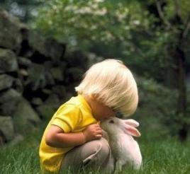 bimbo con coniglio